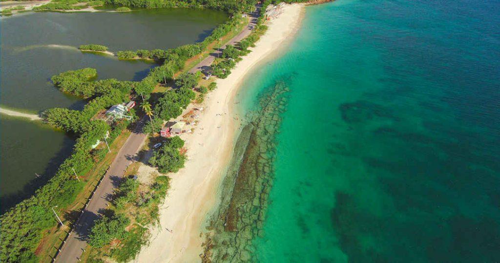 Aerial of Darkwood Beach, Antigua